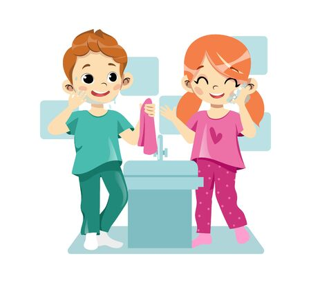 Concept Of Personal Hygiene Procedures. Happy Cheerful Children Are Washing In The Bathroom. Portrait of Beautiful Kids Washing Their Faces Splashing Water. Cartoon Flat Style. Vector Illustration