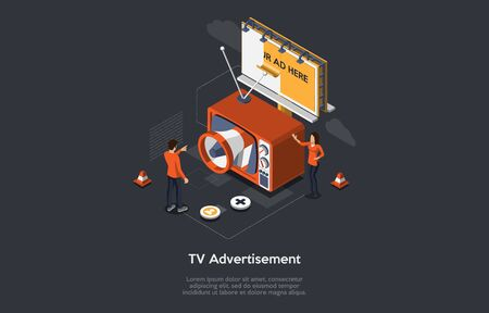 Isometric TV Advertisement Concept, New Advertising Technologies. Audience Segmentation, Addressable TV Advertising, PPC Campaign. Retro TV With Billboard, Manager And Customer. Vector Illustration.