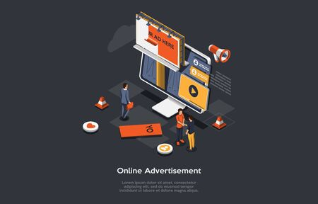 Isometric Online Advertisement Concept, New Advertising Technologies. Computer Monitor, With Different Types Of Advertisement With Big Billboard, Manager And Customers Make Deal. Vector Illustration.