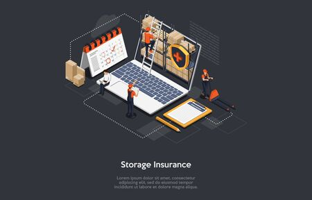 Isometric Cargo Insurance Concept. Workers Work In Warehouse, Storage Goods, Sort And Give Out Cargo Avoiding Of Insurance Event. Cargo Insurance Policy. Safe Storage Guarantee. Vector Illustration