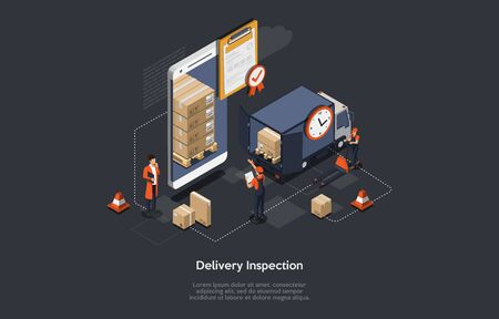Isometric Delivery Inspection Concept. Customs Inspector Checks The Truck Loading And Accompanying Documents. Border Inspection With Working Staff, Smartphone, Truck With Goods. Vector Illustration Vettoriali