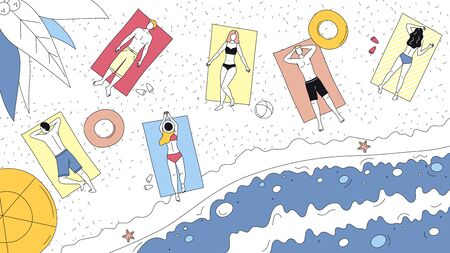 Summer Vacations Concept. People Lay In The Sun On The Ocean Coast Top View. Characters Sunbathing On Beach Towels. People on the Seaside. Cartoon Linear Outline Flat Style. Vector Illustration