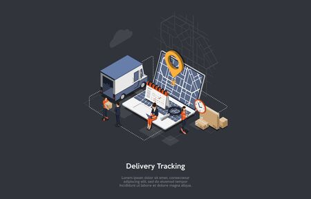 Isometric Online Cargo Delivery Tracking System With Gps Position Of Van On The Map. City Logistics Home and Office. Workers Deliver Goods And Monitoring The Location Of The Van. Vector Illustration.