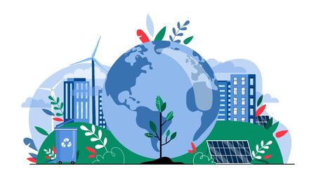 Eco City Concept. High-Technology City, Buildings, Recycling Waste, Control The Pollution Of Air of Planet, Alternative Energy Sources With Big Globe. Cartoon Linear Outline Flat Vector Illustration.