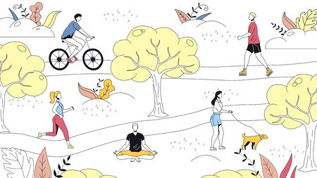 Weekend Time Leisure Concept. People Walk In the Park, Do Yoga, Ride Bicycle. Active People Do Sport And Have A Good Time. Weekend Active Time. Cartoon Linear Outline Flat Style. Vector Illustration.