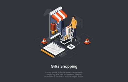 Isometric Online Shopping Concept. Male Character Customer Order And Buy Gifts Online By Means Mobile App. Mobile Phone Represents of Front of Store. Online Mobile Gift Purchase. Vector Illustration.