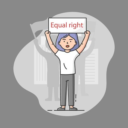 Concept Of Mass Protest Action. Dissatisfied Young Woman Defends Her Rights, Taking Part In Strike. Girl Holding Protest Banner With Equal Right Sign. Cartoon Linear Outline Flat Vector Illustration Vectores
