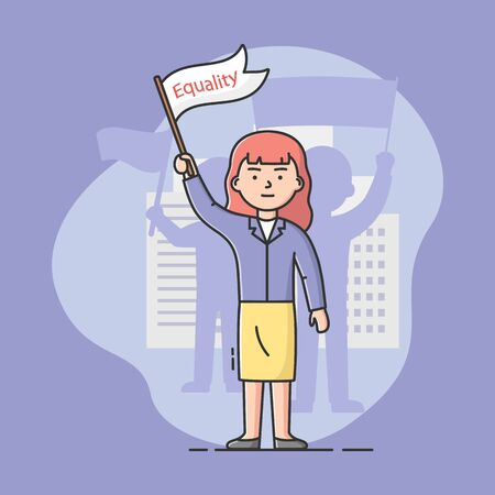 Concept Of Mass Protest Action, Gender Equality. Dissatisfied Young Woman Strike, Defends Her Rights. Girl Holding Protest Banner With Equality Sign. Cartoon Linear Outline Flat Vector Illustration