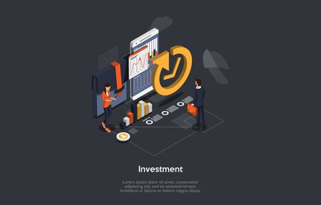 Isometric Concept Of Investments. Woman Business Trainer Giving Financial Consultation To Man Customer About Profit Investments In Market. Data Analysis and Investment Statistics. Vector Illustration.