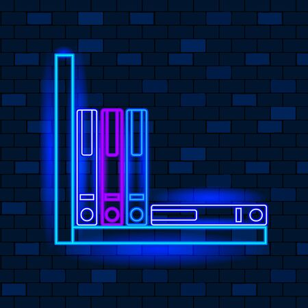 Vip Neon Icons Concept. Cute Vip Neon Office Binder On The Shelf On Dark Brick Wall Background. Tools For Office Paperwork And Accountant. Neon Glowing Mailbox Sign. Flat Style. Vector Illustration