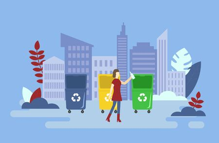 Zero Waste, Save Planet And Recycling Concept. Volunteer Woman Is Throwing Trash Into Container With Recycling Sign. Young Female Character Is Sorting Garbage. Cartoon Flat Style. Vector Illustration