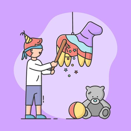 Birthday Party Celebration Concept. Birthday Boy Is Going To Broke Pinata By Bat With Blindfold. Happy Smiling Kid Is Celebrating The Holiday. Cartoon Linear Outline Flat Style. Vector Illustration. 向量圖像