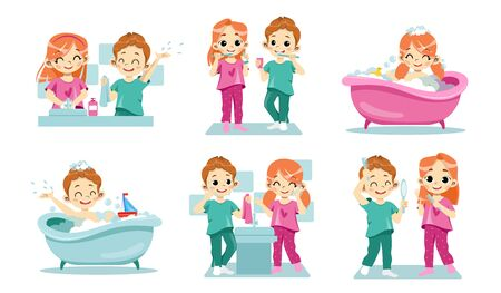 Concept Of Kids Dental Health and Personal Hygiene. Happy Children Clean Teeth, Wash Hands And Face. Taking Care Of Hair. Children Daily Routine Procedures. Cartoon Flat Style. Vector Illustration Ilustração
