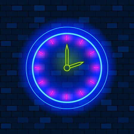 Concept Of Vip Neon Icons, Passing of Time Or Deadline. Cute Vip Neon Clock On The Wall On Dark Brick Wall Background Showing Two OClock. Neon Glowing Mailbox Sign. Flat Style. Vector Illustration.