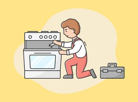 Concept Of Master Call, Appliances Service. Professional Worker Repairman Fixes Gas Stove Oven. Character Repairs Broken Appliances By Tools At Home. Cartoon Linear Outline Flat Vector Illustration.