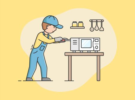 Concept Of Electric Appliances Service. Professional Worker Repairman In Uniform Fixes Microwave. Character Repairs Broken Kitchen Appliances At Home. Cartoon Linear Outline Flat Vector Illustration. Ilustração