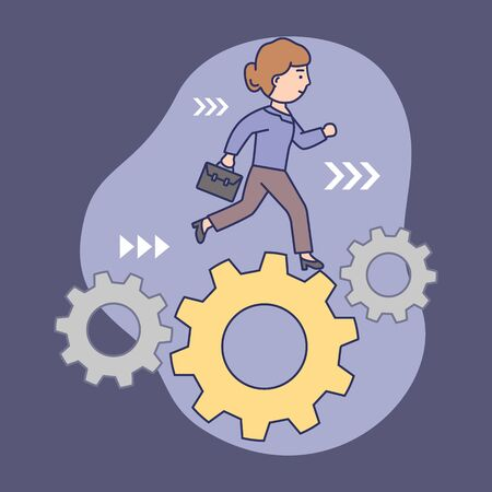Time Management Concept. Confident Businesswoman is Running in Set of Gears Mechanism, Cogwheels. Concept Of Business Planning And Deadlines. Linear Outline Cartoon Flat Style. Vector illustration