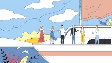 Concept Of Vacations On Cruise Ship. Smiling People Making Party on Yacht Ferry Ship, Drink Alcohol. Ocean Vacations, Sea Travel and Friendship. Cartoon Linear Outline Flat Style. Vector Illustration. Vector Illustratie