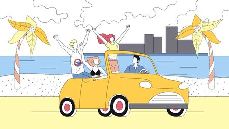 Concept Of Summer Holidays. Happy Friends Travel By Car On Summer Vacations. People Enjoy Driving Cabriolet. Male And Female Characters Travel. Cartoon Linear Outline Flat Style. Vector Illustration