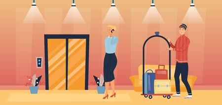 Professional Hotel Service And Staff Concept. Porter is Escorting Business Woman To The Room And Carrying Luggage On The Cart. Busy Lady Speaks On Mobile Phone. Cartoon Flat Style Vector illustration