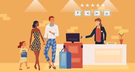 Professional Hotel Service Concept. Father, Mother And Daughter On Five Star Hotel Reception Desk. Receptionist Gives The Keys From Apartments. Family Stay In Hotel. Cartoon Flat Vector illustration Ilustração