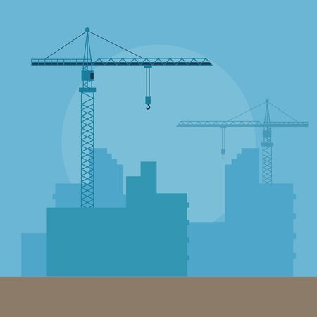 Concept Of Construction. Big Tower Cranes With Silhouettes Of Skyscrapers, Residential Buildings In Process Of Construction. Industrial Modern Business Technology. Cartoon Flat Vector Illustration.