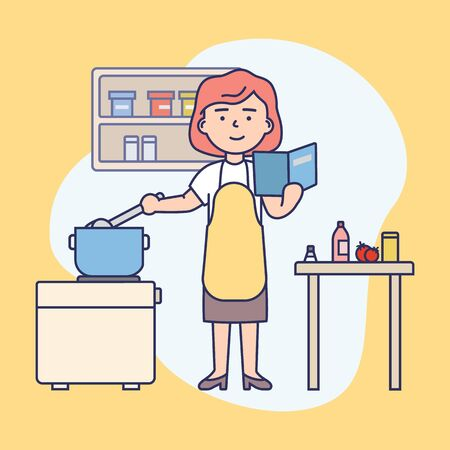 Cooking Concept. Happy Girl Is Cooking Food At Kitchen. Woman Is Reading The Recipe, Cooking And Having A good Time. Housewife Is Cooking Soup In Pan. Cartoon Flat Outline Linear Vector Illustration