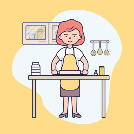 Young Girl Is Cooking Food In The Modern Kitchen. Female Character Is Rolling Out the Dough On the Kitchen s Table. Housewife Is Cooking Healthy Food. Cartoon Flat Outline Linear Vector Illustration
