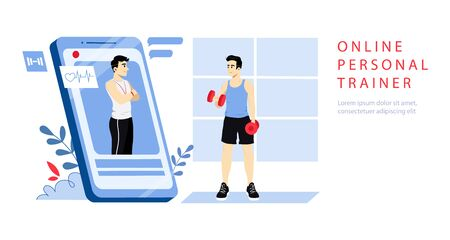 Concept Of Online Personal Trainer. Website Landing Page. Man Takes Online Course With Trainer. Boy Exercising Dumbbells Looking On The Screen Of Smartphone. Web Page Cartoon Flat Vector Illustration. Vetores
