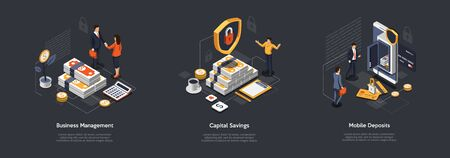 Isometric Ways Of Capital Saving And Increase. Businessmen Building Wealth. Characters Find Ways To Save And Increase Savings By Deposit And Investments. Financial Freedom. Vector Illustrations Set.