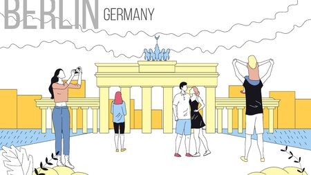 Concept Of Travelling To Berlin, Germany Cityscape with Landmarks. Tourists Book Tour, Enjoy the Views, Take A Photos, Have A Good Time Together. Cartoon Linear Outline Flat Style Vector Illustration Illustration