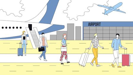 Concept Of Air Flights. People Exit From Airplane And Go Towards Airport Terminal. Group Of Business People And Tourists With Luggage. Arrival Plane. Cartoon Linear Outline Flat Vector Illustration.