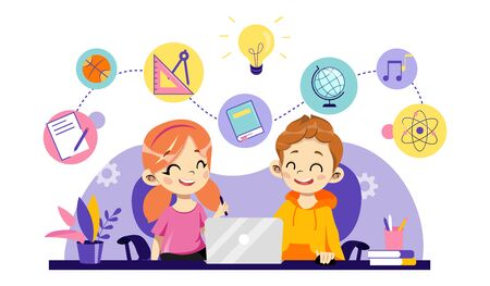 Children Online Education, Remote Studying, Training and Courses, Learning, Video Tutorials. Cheerful Children Are Study Online Use Laptop With School Items. Cartoon Flat Style. Vector Illustration