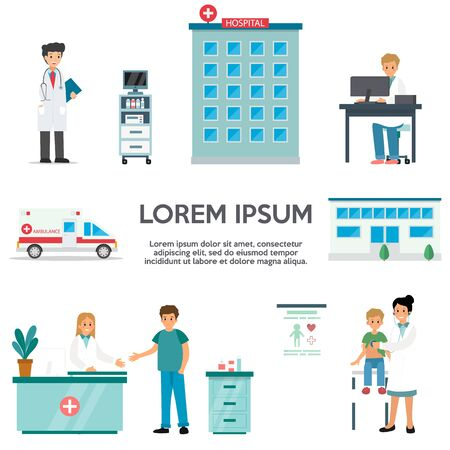 Health Care And Medical Diagnosis And Personnel. Doctors Men And Women At Their Workplaces Ready To Help. Hospital Building, Ambulance Car And Patients. Cartoon Flat Style. Vector Illustrations Set
