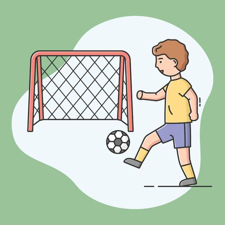 Concept Of Sports Activities, Trainings And Hobbies. Young Sportsman Is Playing Football. Male Character Is Kicking The Ball Into Enemy s Goal. Cartoon Outline Linear Flat Style. Vector Illustration