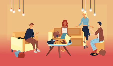 Concept Of Friends Leisure At Home. People Men And Women Throwing A Party. Friends Relaxing At Home Eating Pizza. Characters Enjoying Spending Time Together. Cartoon Flat Style. Vector Illustration