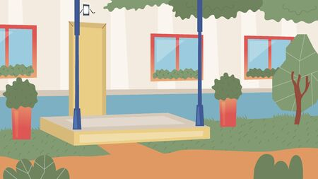 Concept Of City Life, Residential Building. Entrance In Townhouse Or Apartment Building With landscape Design With Trees And Bushes Without People. Porch Of House. Cartoon Flat Vector Illustration