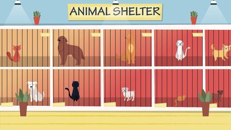 Animal Shelter Concept. Lonely Animals In Cages Wait For The Adoption. Rehabilitation or Adoption Center for Stray Pets. Adoption of homeless animals concept. Cartoon Flat Style. Vector Illustration