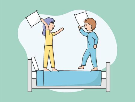 People Home Pastimes Concept. Characters Spend Time At Home. Young Couple Is Having Pillow Battle On the Bed. Man And Woman Have Fun Together. Cartoon Outline Linear Flat Style. Vector Illustration.