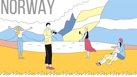 Concept Of Norway Sightseeing. People Visit Norway. Men And Women Making Selfie At Mountain And Ocean Landscape Background, Spend Time Together. Cartoon Linear Outline Flat Style. Vector Illustration. Ilustração