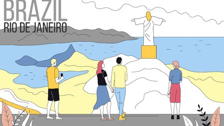 Concept Of Travelling To South America, Brazil. People Travel To Rio De Janeiro, Enjoying Views, Take Pictures, Visit Famous Places, Have Good Time. Cartoon Linear Outline Flat Vector Illustration.