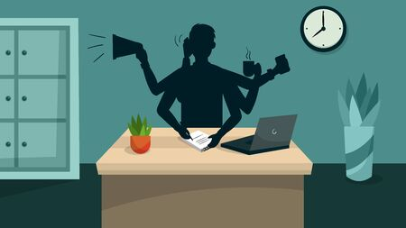 Concept Of Possibility Doing Many Tasks Simultaneously And Time Management. Busy Self Confident Businessman With Many Hands Do His Office Multitasking Job. Cartoon Flat Style. Vector Illustration.