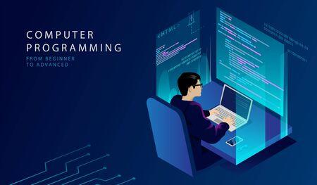 Concept Isométrique De Cours De Programmation. IT Academy propose des cours à distance HTML et C++ pour les futurs développeurs professionnels et graphistes. Étudier au programme. Illustration vectorielle 3d de dessin animé.