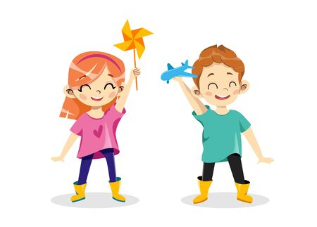 Concept Of Children Creativity And Development. Advertisement Of Kids Creative School With Children Boy And Girl Holding Toy Windmill And Plastic Airplane In Hands. Cartoon Flat Vector Illustration