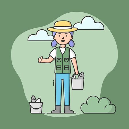 Concept Of Fishing And Rest. Fisherwoman Is Standing And Holding Bucket Of Fish In Hand. Sport Outdoor Woman Leisure or Relaxation At Her Hobby. Cartoon Linear Outline Flat Style. Vector Illustration.