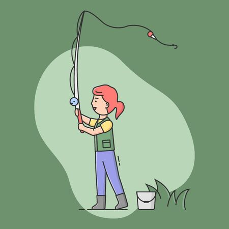 Concept Of Fishing With Spinning And Rest. Cheerful Fisherwoman Is Standing And Cast. Sport Outdoor Woman Leisure or Relaxation At Her Hobby . Cartoon Linear Outline Flat Style. Vector Illustration.
