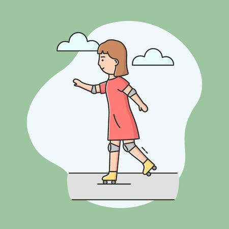 Concept Of Active Leisure. Sporty Girl Roller Skating. Cheerful Woman Riding Roller skates On Road In The Park. Teenager Having Fun Outdoor. Cartoon Linear Outline Flat Style. Vector Illustration.