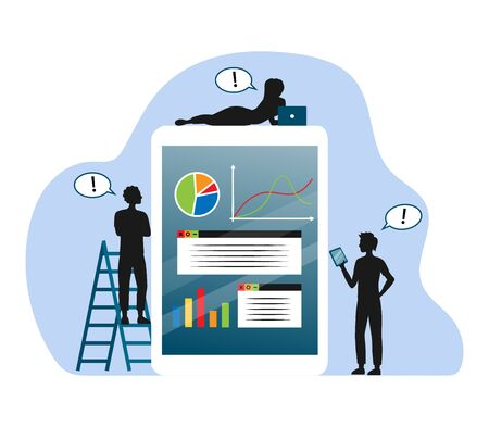 Concept Of Business Analysis, Teamwork And Cooperation. Black Silhouettes Of Business People Are Analysing And Forecasting Project Using Gadgets With Charts. Cartoon Flat Style. Vector Illustration Иллюстрация