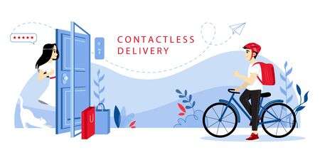 Concept Of Contactless Delivery. Courier Is Making Safety Delivery To Customer s Home Grocery Products During Quarantine, Keeping The Distance With Customer. Cartoon Flat Style. Vector Illustration Illustration