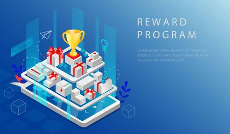 Isometric Reward Program And Cashback Concept. Website Landing Page. Big Smartphone And Tablet With Reward Program App, Gift Boxes, Purchases And Gold Cup On The Top. Web Page 3D Vector Illustration. Vektorgrafik